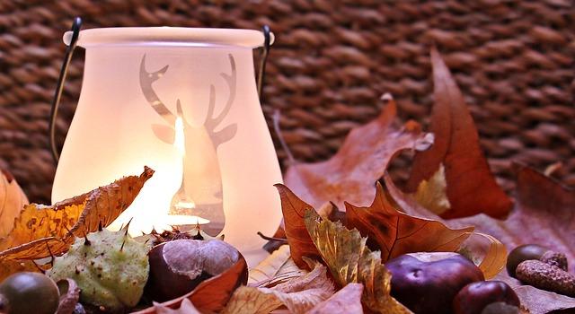 podzimní dekorace, svítilna